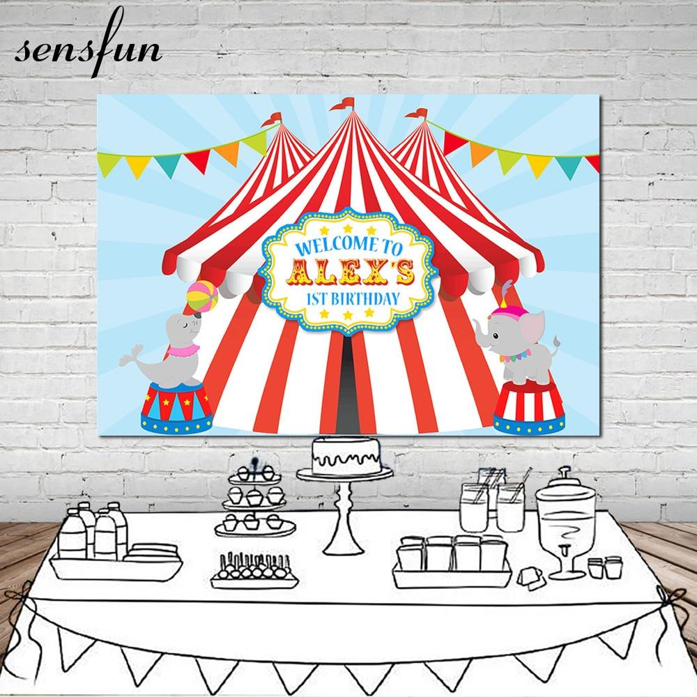 Sensfun Karneval Circus Party Fotografie Hintergrund Bunting 1st Geburtstag Party Hintergründe Photo Vinyl