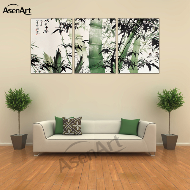 Beautiful Canvas Art Chinese Calligraphy Bamboo At Peace Home Decoration 3 Panel For Bedroom  Canvas Prints Wall