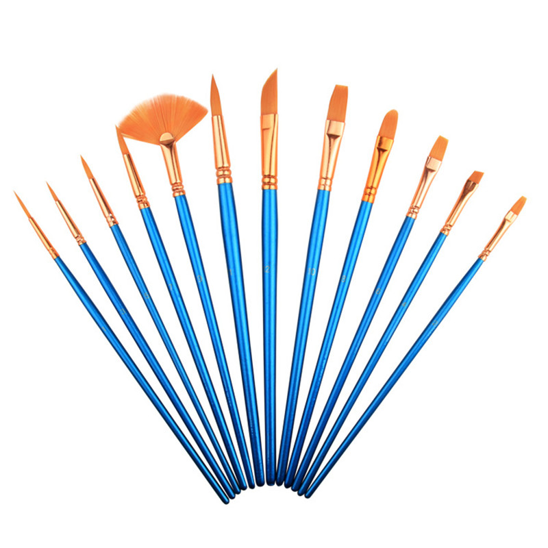12Pcs Different Shape Nylon Hair Watercolor Paint Brush Set For School Student Gifts Acrylic Drawing Brushes Art Supplies bianyo 10pcs paint brushes nylon hair wood handle different shape set for art student watercolor drawing paintbrush art supplies