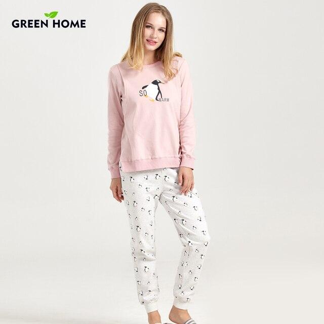 Green Home Penguin Pregnancy Pajamas Set Clothes for Pregnant Women Cotton Soft Breastfeeding Pajamas Nursing Home Clothes