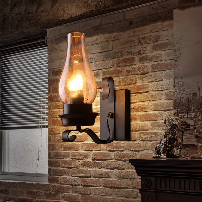 Vintage Iron Wall Lamps American Bar Wall Lights Personalized Clear ...