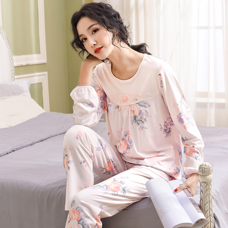 Spring Floral Tops + Long Pants 2 Piece Sets Pajamas Set For Women Modal Cotton Sleepwear Plus Size M-3XL Pijamas mujer