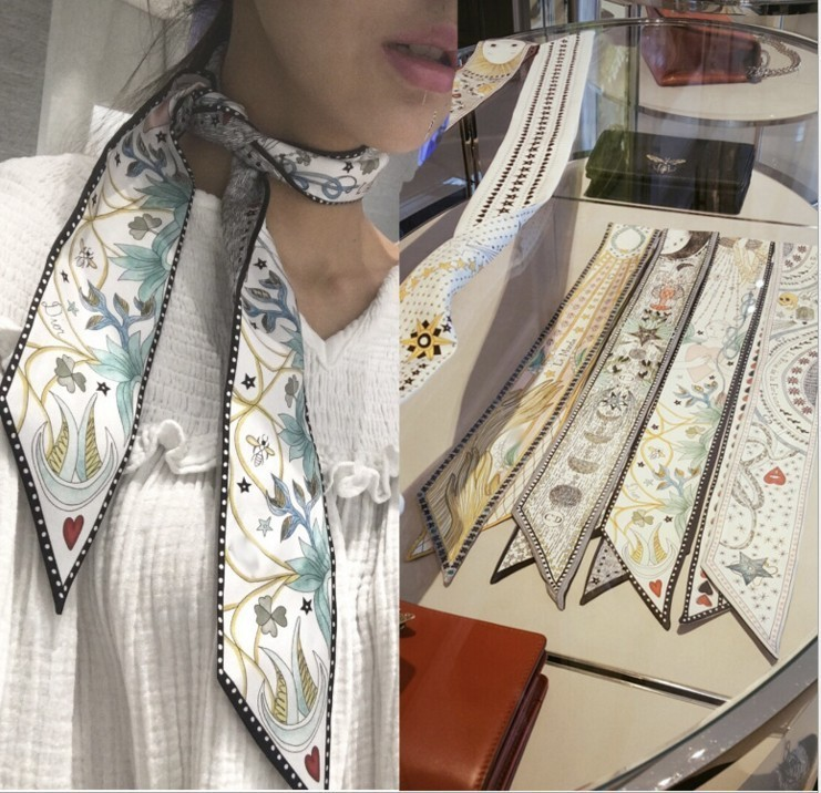 Tarot Series New Design Skinny   Scarf   12 Constellation Print Women Silk   Scarf   Small Handle Bag Ribbons Female Head   Scarves  &  Wraps