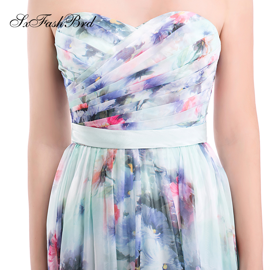 Vestido De Festa Sweetheart A Line Summer Print Flower Chiffon Long - Հատուկ առիթի զգեստներ - Լուսանկար 6