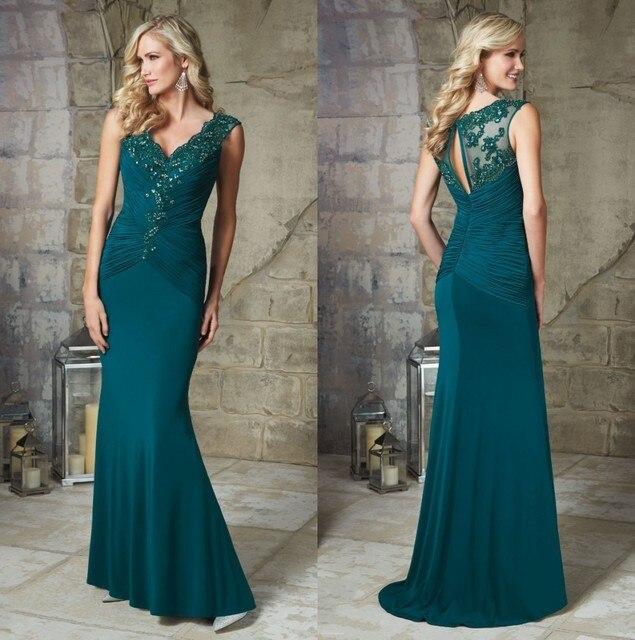 cb4905e25 Pavo real Azul de Las Mujeres Vestido Maxi Con Cuello En V Blusa Plisada  Sirena Largos
