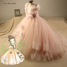 Elegant Girl Dress Girls 2016 Summer Fashion Pink Lace Flowers Party Tulle Flower Princess Dresses Girl Wedding Dress Baby Dress