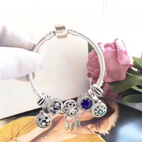Fits Jewelry Charm DIY Ladies Party Gift Dream Catcher Moon Star Bracelet Sterling Silver 925 Cat Eye Stone Beads