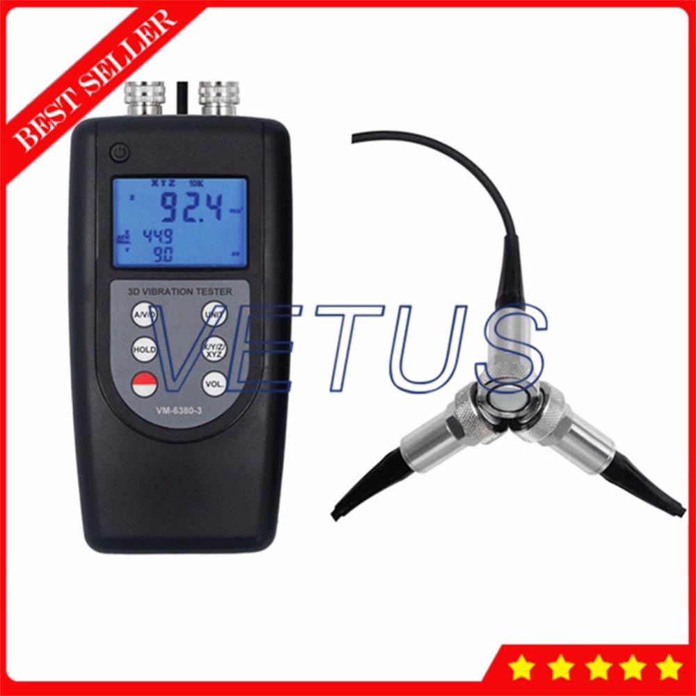 VM6380-3 Portable Vibration Meter Digital Vibrometer Gauge with 3 Piezoelectric Transducer Vibrating Tester Analyzer цена