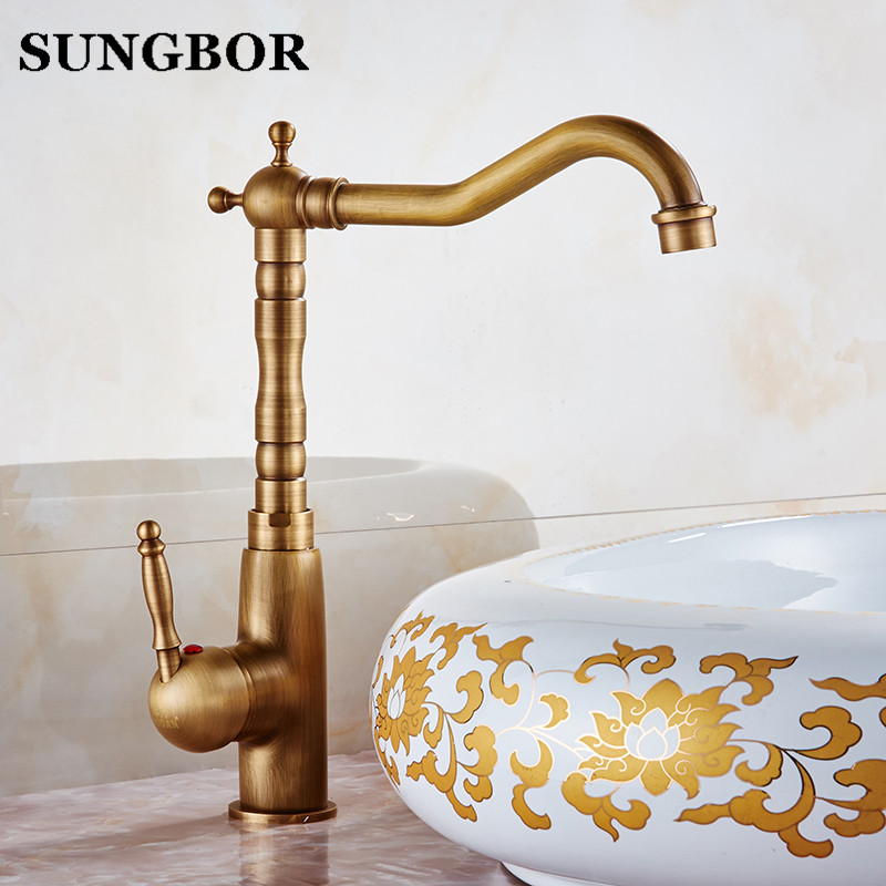 Bathroom Sink Faucet Antique Bronze 360 Degree Turn Basin Faucet Water Tap Single Handle Cold and Hot Water AL-7199F