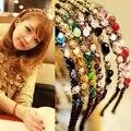 1 PCS de Moda de Nova Mulheres Meninas Strass Tiara De Cristal Delicado Brilho Faixa de Cabelo Headwear 7 Cores