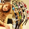 1PCS New Fashion Women Girls Rhinestone Crystal Headband Delicate Glitter Hair Band Headwear 7 Colors