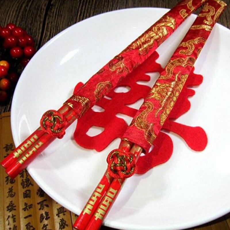100pairs Wood Chinese Chopsticks Double Happiness Dragon And Phoenix Wedding Chopsticks Wedding Favor Gift ZA6332
