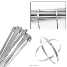 10PC stal nierdzewna metalowa trytytka Zip Wrap ciepło spalinowe pasy indukcyjne tanie tanio OOTDTY NONE CN (pochodzenie) SEE INFORMATION Other STEEL As the picture shown 10 Pcs