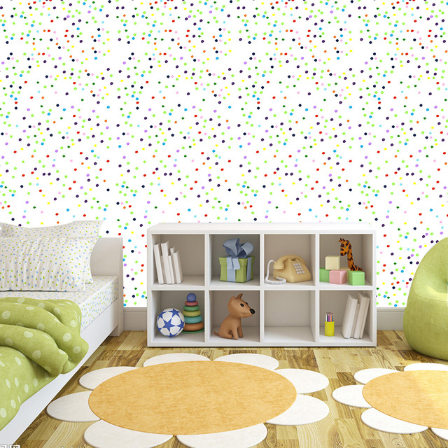 Colorful Dotted Pattern Wall Stickers Children S Room Living Bedroom Decoration Waterproof Self