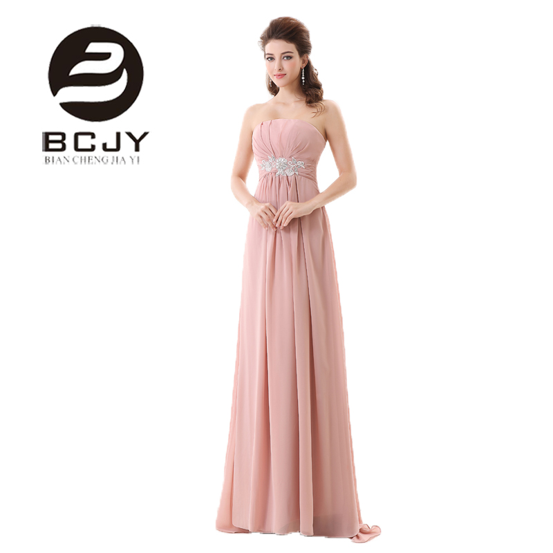 Us 1183 30 Off2019 New Arrival Pastel Pink Strapless Chiffon A Line Evening Dress With Appliques Crystal Vestido Longo Party Gown Plus Size In