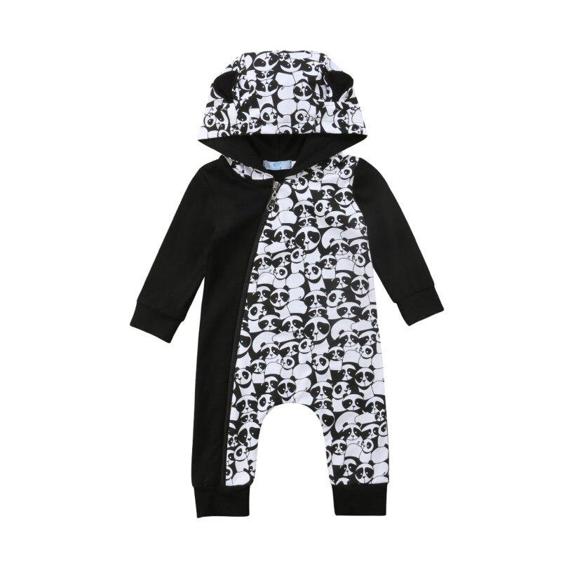 0-18 Mt Infant Neugeborenen Baby Junge Mädchen Lange Sleeve Zipper Panda Drucken Mit Kapuze Romper Overall Outfits Baby Kleidung