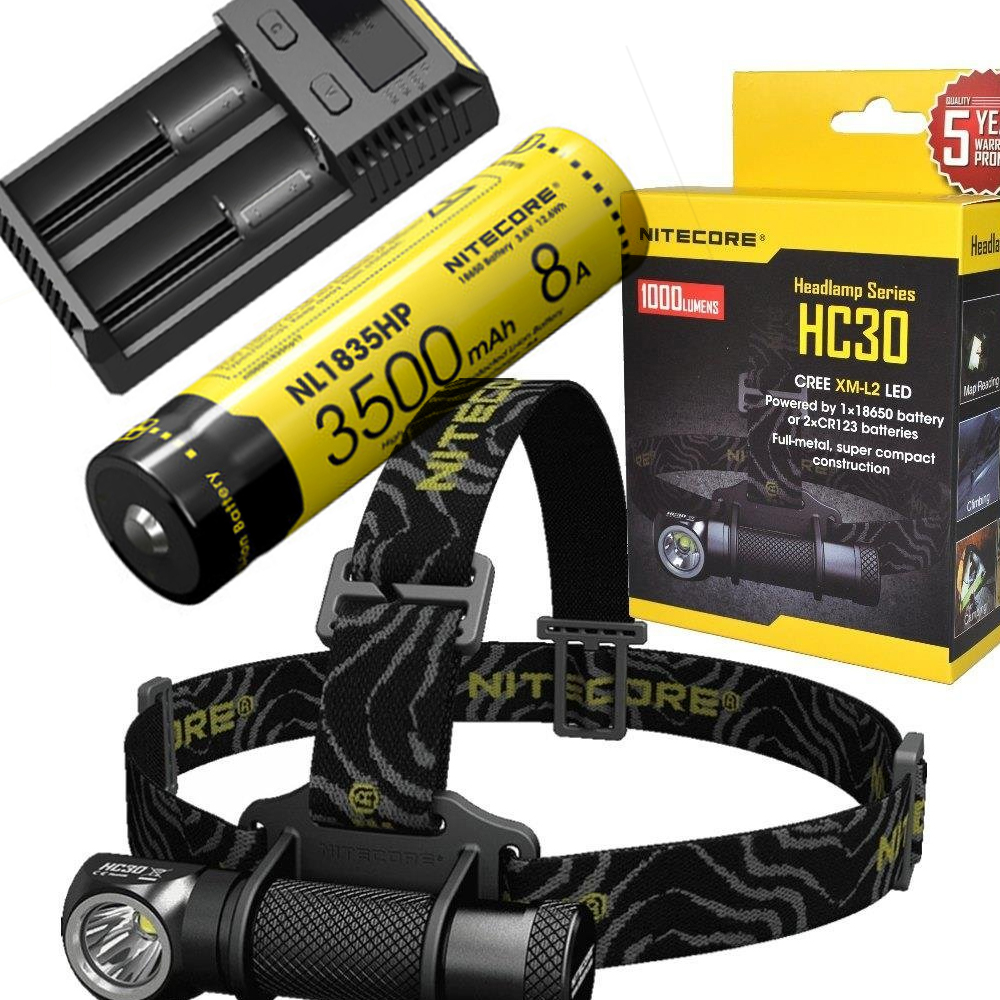 NITECORE HC30 HC30W Headlamp CREE XM-L2 U2 1000LM Waterproof Flashlight Torch with 18650 NL1835hp Battery and i2 charger led headlamp cree xm l2 2xpe led waterproof red light torch flashlight usb headlamp rechargeable with 18650 battery and charger