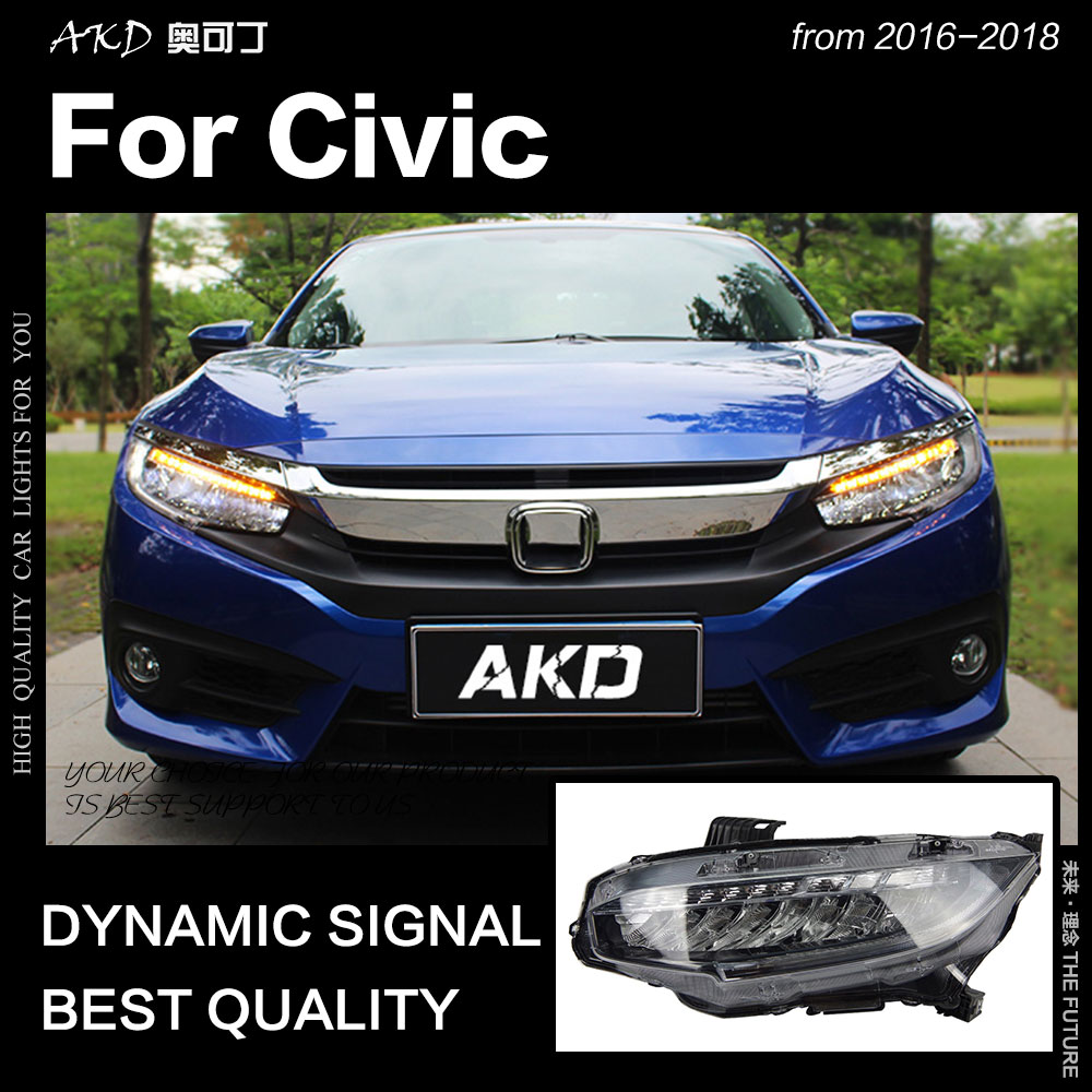 AKD Car Styling for Civic Headlights 2016 2018 New Civic X LED Headlight LED DRL Hid