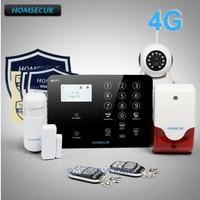 HOMSECUR Wireless 4G 3G GSM LCD Burglar Intruder Alarm System Wireless IP Camera