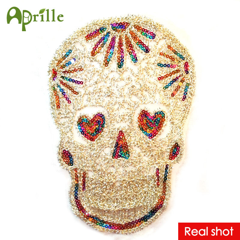 New arrive 32x22 cool lace sequins skull patch DIY clothes ...