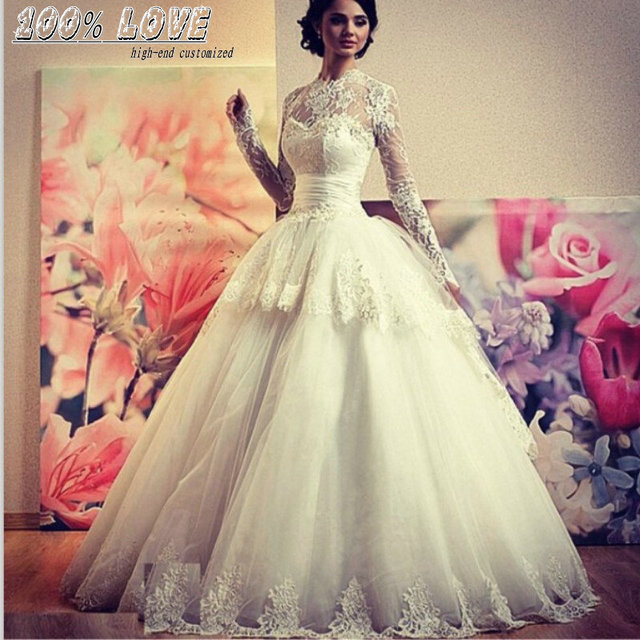 Wholesale Long Sleeve Lace Appliqued Pleat Belts Kleinfeld Wedding ...