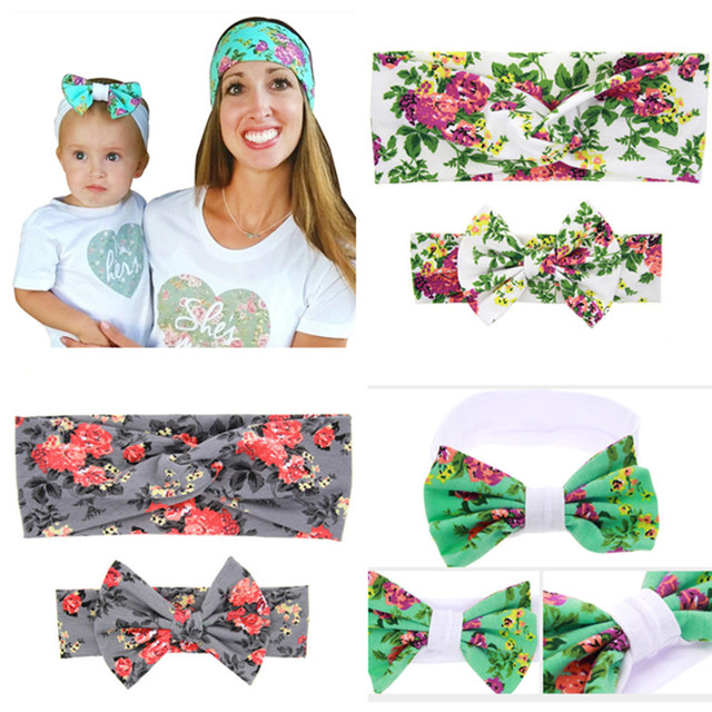wholesale100sets Mom and me headband fabric child girl headwrap Cotton knot  headband Turban headbands mom daughter headwear set e86b3ba97b0