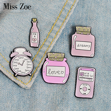 Pink Collection Enamel Pins Sleep Clock Love Dream Bottle Brooches Den