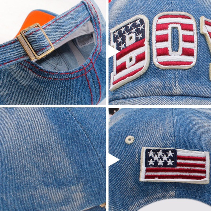"Red, White and Blue Embroidered ""Boy"" Child's Baseball Cap - Close-up Details"