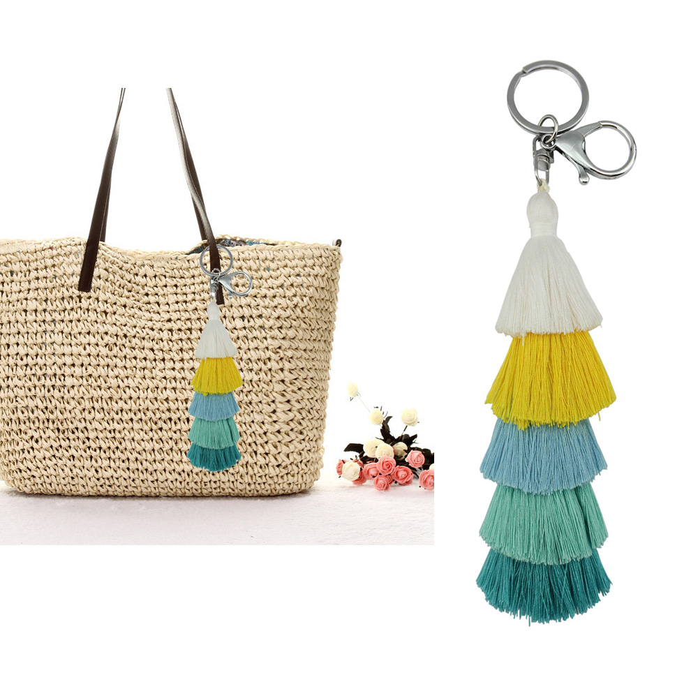 Colorful Boho Hula Pom Pom Key Chain Bag Accessories Silver Bag Charm Purse Rainbow Charm Tassel Keychain for Women Gift colorful pom pom trim slub tee