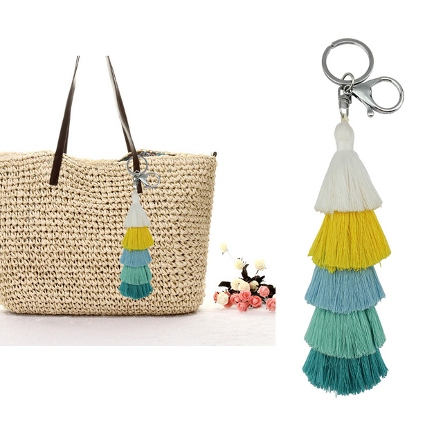 Colorful Boho Hula Pom Pom Key Chain Bag Accessories Silver Bag Charm Purse  Rainbow Charm Tassel Keychain for Women Gift 13b139228be1
