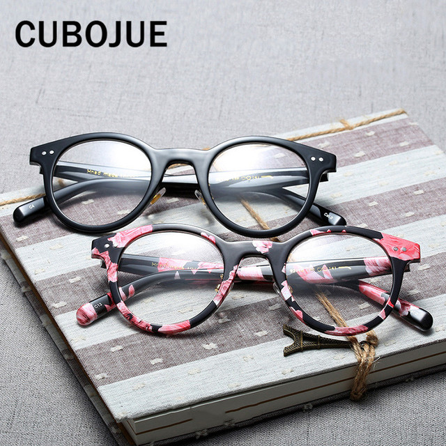 65c62003d2 Cubojue Retro Round Transparent Glasses Women Men Vintage Eyeglasses Frames  with Optical Lens Female Points Case