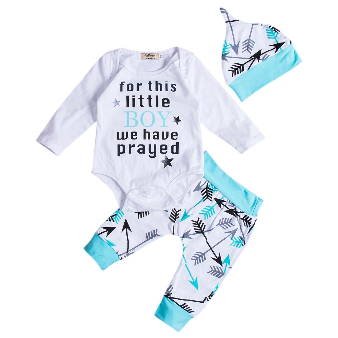 Pudcoco 3PCS Toddler Infant Baby Boys Clothes Cotton Long Sleeve Letter Printed Bodysuit Pants Leggings Hat Outfits Set