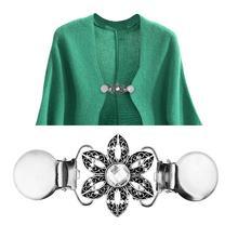 Vintage Women Flower Rhinestone Sweater Clamp Cardigan Colla