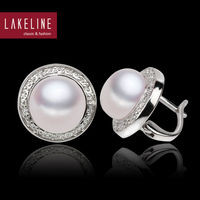 Classic Style Sterling Silver 925 Ivory White Button Flat Pearl Freshwater Clip On Pearl Earrings With