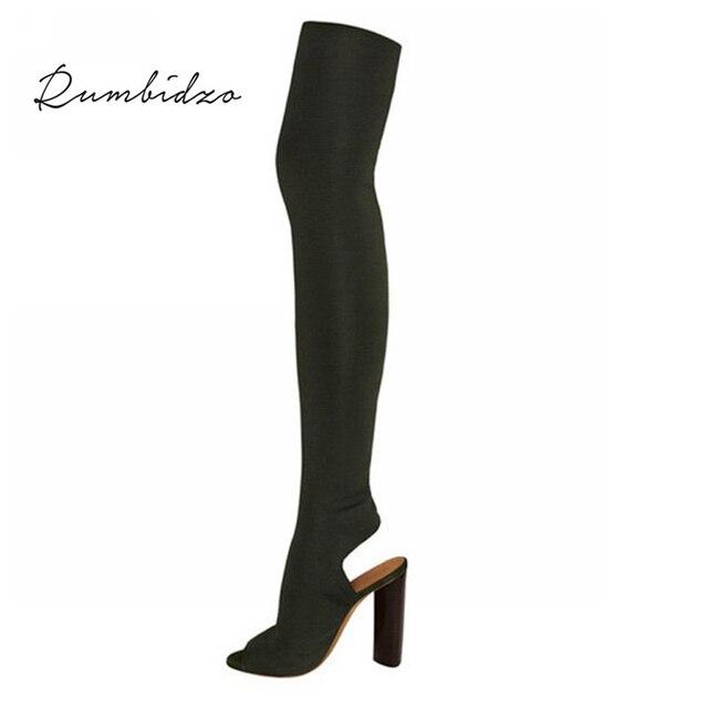 Rumbidzo 2018 Moda Kadın Çizmeler Sonbahar Kış Diz Çizmeler Üzerinde Yüksek Topuk Peep Toe Kalın Topuk Bootie Kadın Slingback botas