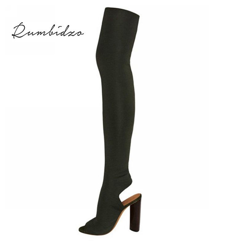 Rumbidzo 2018 moda mujer Botas Otoño Invierno sobre la rodilla Botas tacón peep toe bootie talón grueso mujer slingback botas