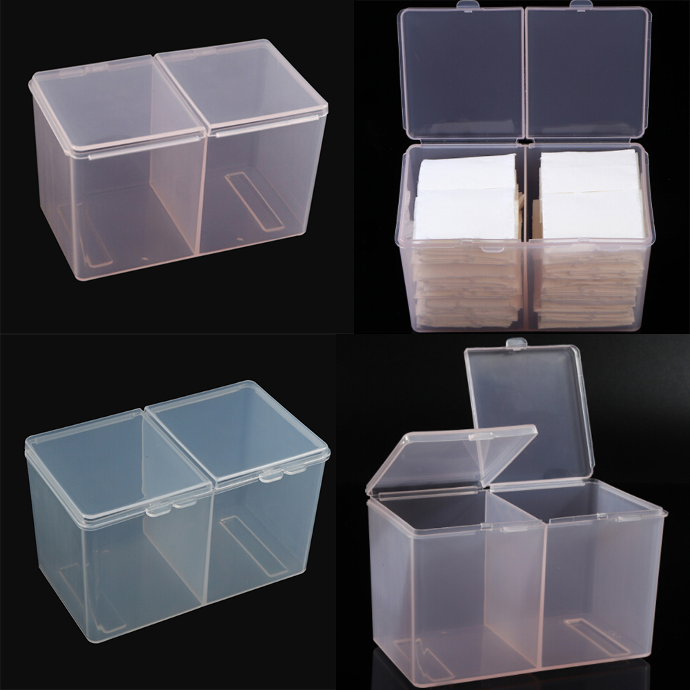New Japan Style Nail Art Clear Compartments Holder Organizer Container Gel Polish Remover Cleaning Cotton Pad Swab Storage Box