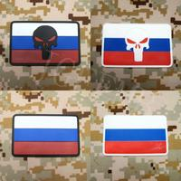 The Russian Federation Punisher Flag Tactical Military Morale 3D PVC Patch 8cm 5cm