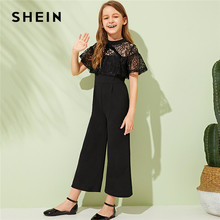 SHEIN Kiddie Black Drop Schouder Contrast Lace Trim Knoop Brede Been Meisjes Party Jumpsuit 2019 Zomer Korte Mouw Rits Jumpsuits(China)