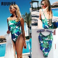 RUUHEE Swimwear Women One Piece Swimsuit Cross Strap Bodysuit 2018 Brand Vintage Bathing Suit Monokini   Swimming   Suit For Women