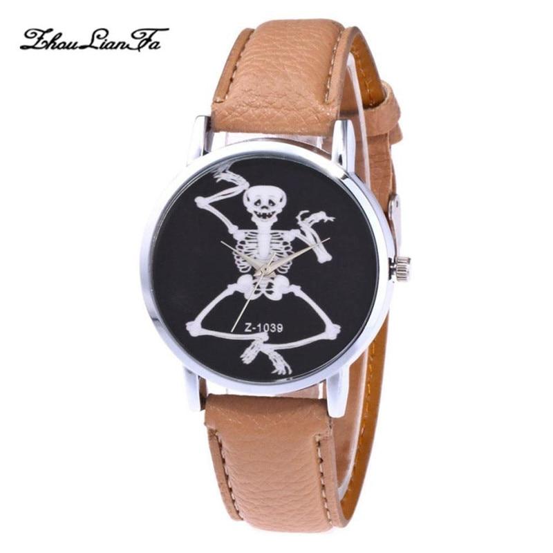 Gothic Women Watch Skull print With Leather Strap Analog Watch horror Femme Relogio Feminino Halloween Hoilday 30