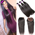Peruvian Straight Virgin Hair With Closure Human Hair Bundles With Closure 3 Bundles Virgin Straight Hair With Lace Closure