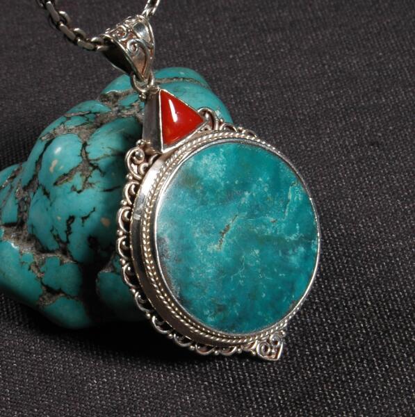 Ручной работы непальский 925 Серебряный кулон ожерелье Тибетский 925 натуральный зеленый камень кулон богемский кулон ожерелье