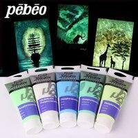 100 мл pebeo акриловая краска светится в темноте светящаяся краска s светящийся флуоресцентный пигмент волокно краска ing для ткани художественн...