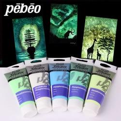 100ML pebeo akrylowe farby świecące w ciemności świecące farby Luminous Pigment fluorescencyjne włókna malowanie na tkaniny dostaw sztuki w Farby akrylowe od Artykuły biurowe i szkolne na