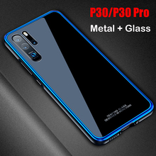Dla Huawei P30 przypadku P30 Pro metalowa rama + hartowane etui do okularów przypadku kolorowe gładkie tylna pokrywa P 30 Pro mate 20 pro powłoki metalowe