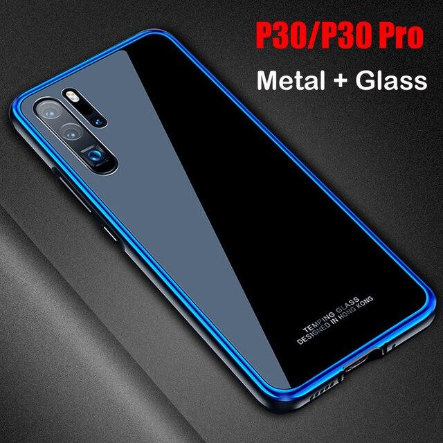สำหรับ Huawei P30 กรณี P30 Pro กรอบโลหะ + กระจกนิรภัยกรณีที่มีสีสันลื่น P 30 Pro mate 20 pro เปลือกโลหะ