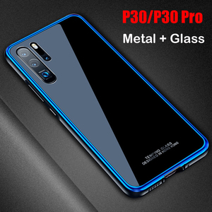 Image 1 - for Huawei P30 Case P30 Pro Metal frame + Tempered Glass Cases Case Colorful Smooth Back Cover P 30 Pro mate 20 pro metal Shell