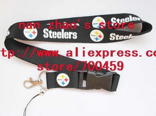 New Lot 120pcs STEELERS FOOTBALL sport Lanyard for MP3/4 cell phone/ key /Neck Strap Lanyard WHOLESALE