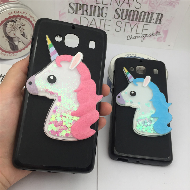 Cute 3D Cartoon Unicorn Liquid Quicksand Glitter Case for Xiaomi Redmi 2 Cover for Xiaomi Redmi 2 Cases Owl Coque Fundas